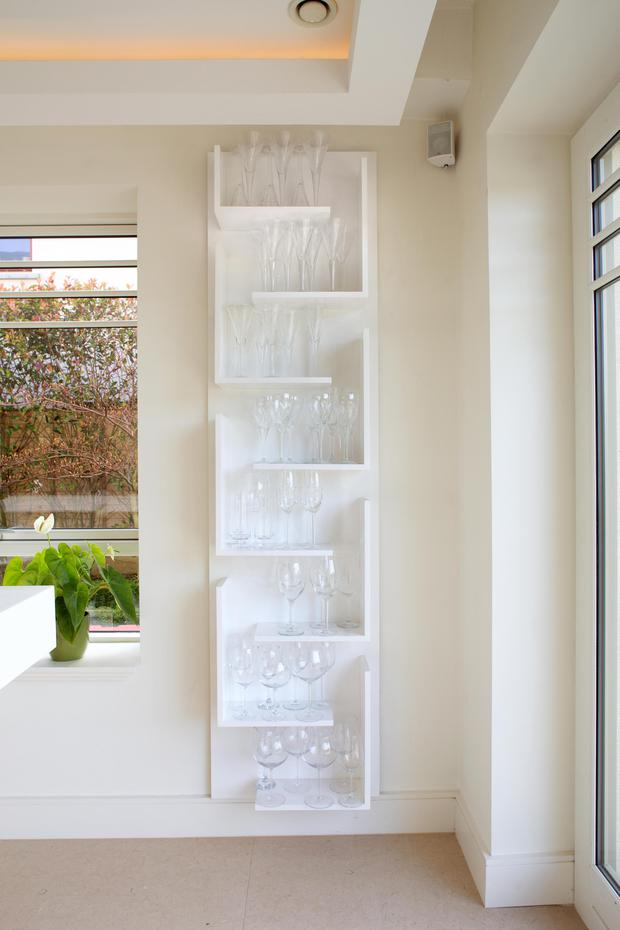 Kate and her husband Peter love to entertain, so design ideas such as this wall unit in the kitchen, which is purely for glasses, is pretty yet practica