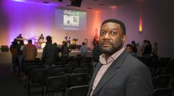Pastor, Emmanuel Might of The Solid Rock Multicultural Pentecostal Church, Inchicore pictured during a service.