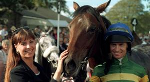 Back in the saddle: Declan Murphy with his girlfriend Joanna Park after winning on Jibereen in 1995, a year after his horrific fall