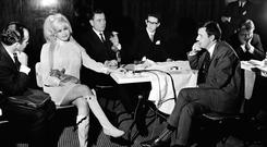 Risqué rose: Jayne Mansfield at a press conference with Bill O'Herlihy in Tralee in 1967