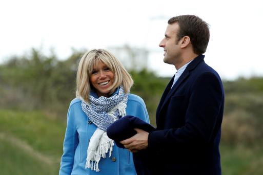 Public displays of affection: French presidential candidate Emmanuel Macron with his wife Brigitte Trogneux