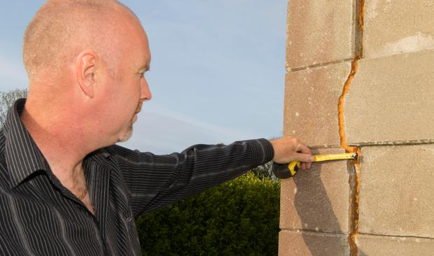 Cracks: Oliver Hegarty at his home in Carndonagh, Co Donegal. Photo: North West Newspix