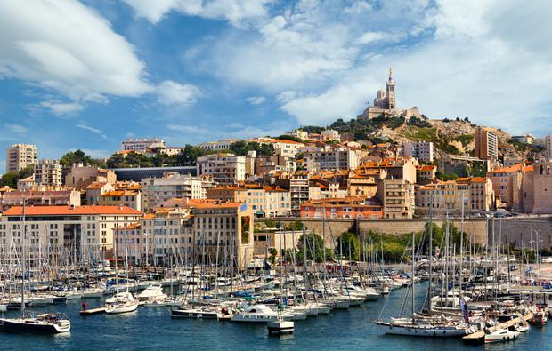 A view of Notre-Dame de la Garde basilica from the Old Port of Marseille