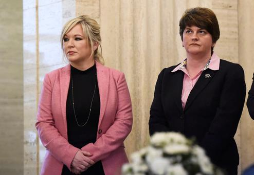 Blonde ambition: Sinn Fein's Michelle O'Neill and DUP leader Arlene Foster