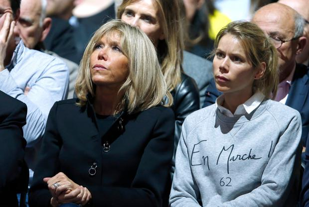 Brigitte Trogneux (left) and her daughter Tiphaine at an election rally for Macron