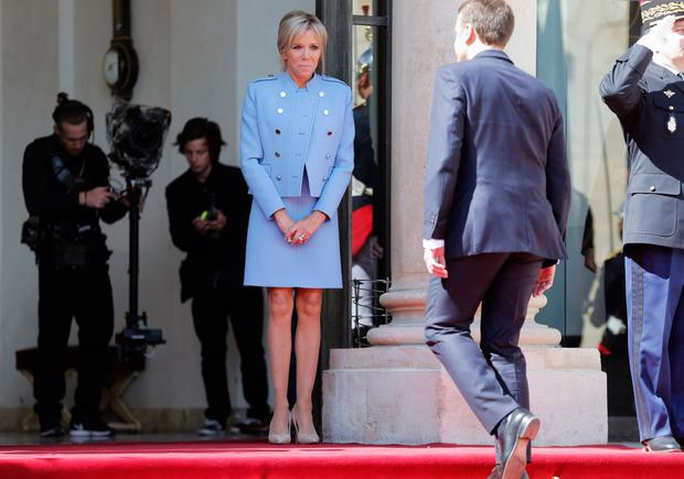 Brigitte's powder blue dress and jacket by Louis Vuitton worn on inauguration day