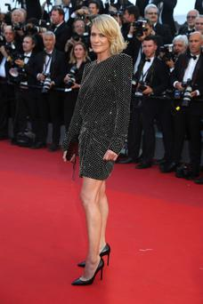 Robin Wright poses pictured at the Cannes festival earlier this month