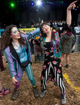 Revellers Alannah Murray and Aoife Meade at day three of Electric Picnic 2016 in Stradbally, Co Laois