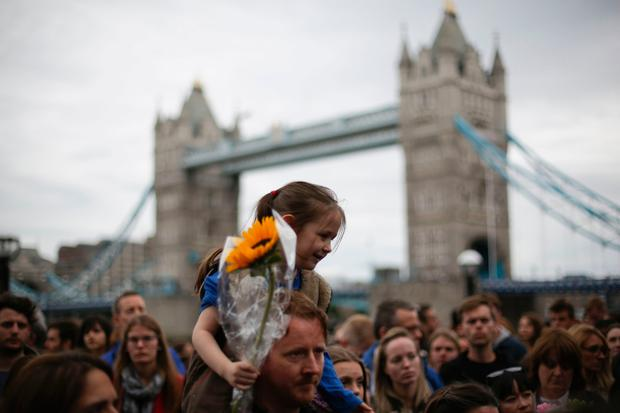 A vigil beside Tower Bridge for the victims of the June 3 terror attacks