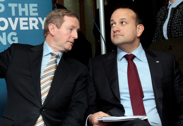 Enda Kenny with Leo Varadkar. Photo: Tom Burke