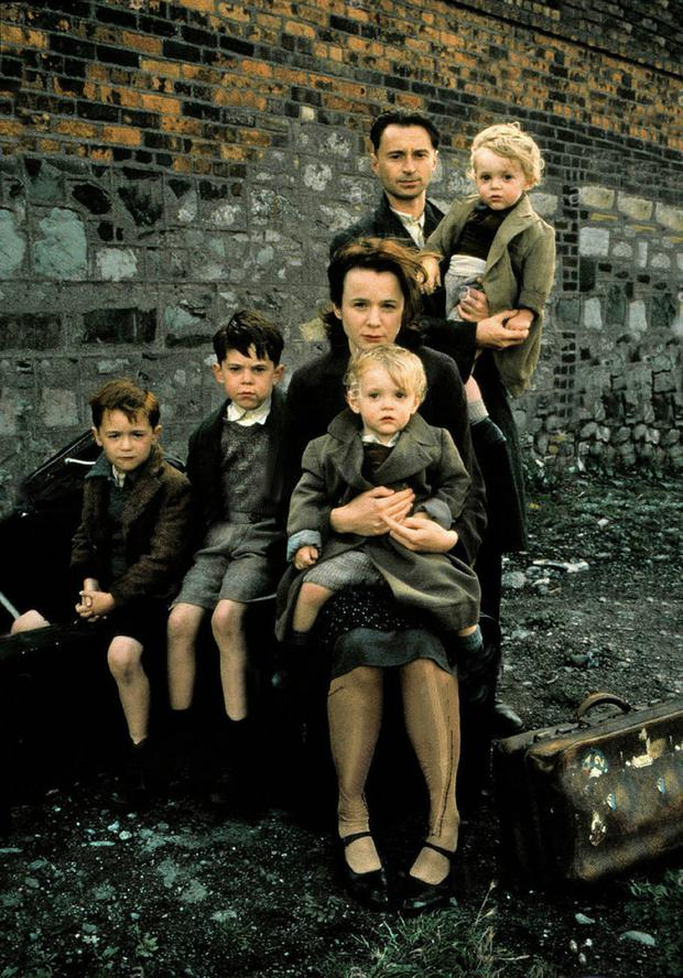 Some of the cast from Angela's Ashes, including Joe Breen as young Frank, Emily Watson as Angela and Robert Carlyle as Dad