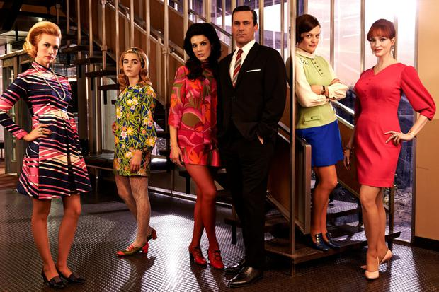 Jon Hamm with 'Mad Men' co-stars January Jones, Kiernan Shipka, Jessica Pare, Elisabeth Moss and Christina Hendrick