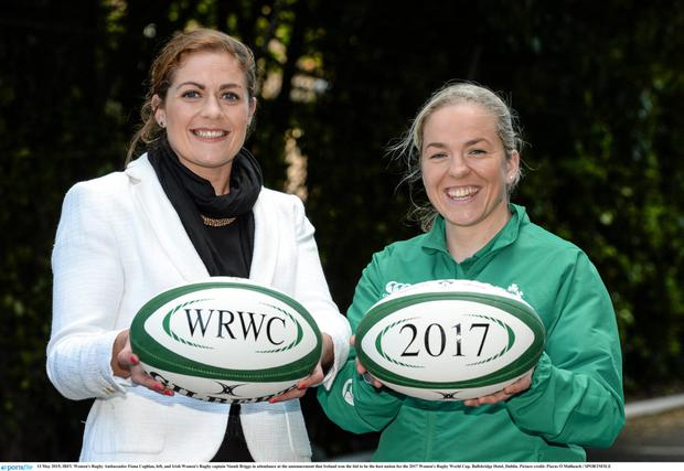 Hopes for the future: IRFU Women's Rugby Ambassador Fiona Coghlan, left, and Irish Women's Rugby captain Niamh Briggs. Photo: Piaras Ó Mídheach /