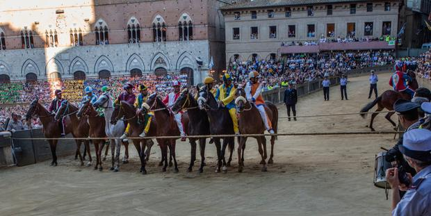 Horses and riders line up behind the starting rope