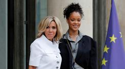 Well-heeled: Brigitte Macron and Rihanna at the Élysée Palace in Paris