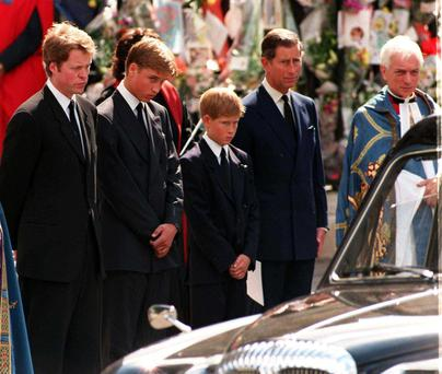 Final journey: Diana's brother, Earl Spencer, plus princes William, Harry and Charles at the Diana's funeral 20 years ago