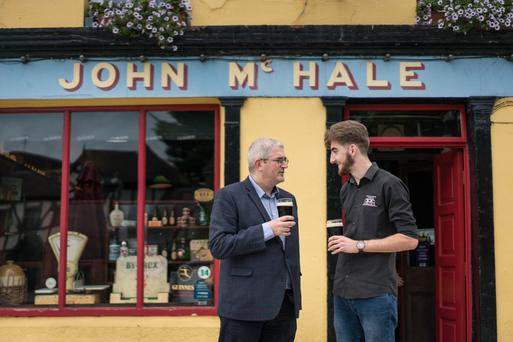 Having a meejum: Michael Baynes and Conor Geraghty at John McHale's Pub in Castlebar. Photo: Keith Heneghan