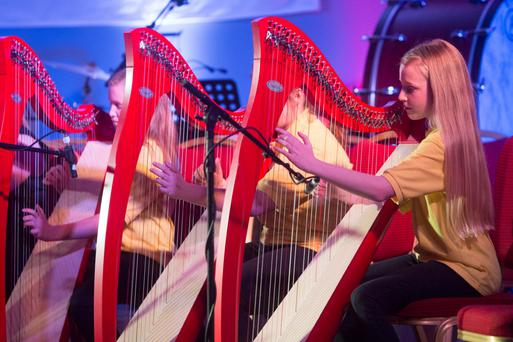 Music Generation Laois Harp Ensemble led by Catriona McKay and Siobhan Buckley at the Music Generation Laois, New Works Series in the Portlaoise Heritage Hotel. Picture: Alf Harvey/HRPhoto.ie