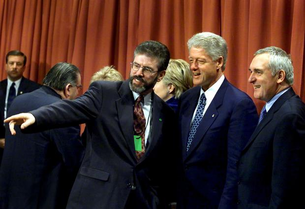 Gerry Adams with Bill Clinton and Bertie Ahern in 2000. Photo: Ferran Paredes