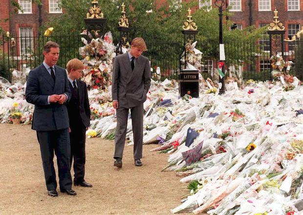 The Prince of Wales and his sons Prince William and Prince Harry view the sea of floral tributes to Princess Diana at Kensington Palace almost 20 years ago. Photo: Rebecca Naden