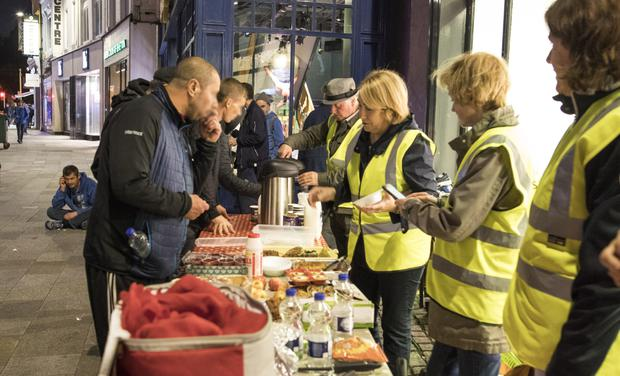 Volunteers from the Homeless Street Café, including Anne Carroll. Photo: Fergal Phillips