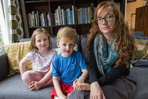 Ceire Sadlier (35) with her children Juno (6) and Milo (4). Photo: Douglas O'Connor