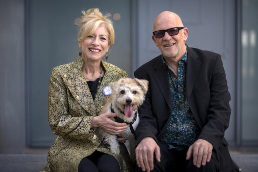 Honor Heffernan and Trevor Knight (with Lola the dog) are romantic and musical partners. Photo: Doug O'Connor