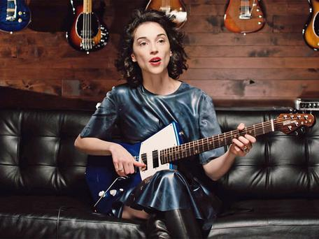 Annie Clark, aka St Vincent, with her Ernie Ball Music Man signature guitar used on the album Masseduction
