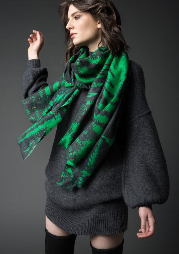 Forest fern print wool scarf, €90; see kdk.ie