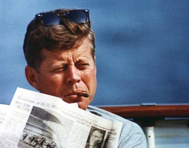 JFK relaxing at sea in an undated picture. Picture: JFK Library/Reuters