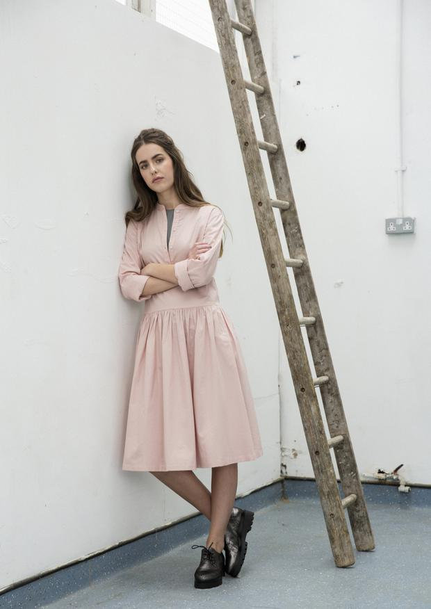 Dress, €235; top (worn underneath), €75, both Kowtow, both Stiall.com. Shoes, €140, We Are Shoe Lab
