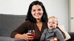 Raising a glass to motherhood: Emilia Cruz and her son Oliver. Photo: FRANK MCGRATH
