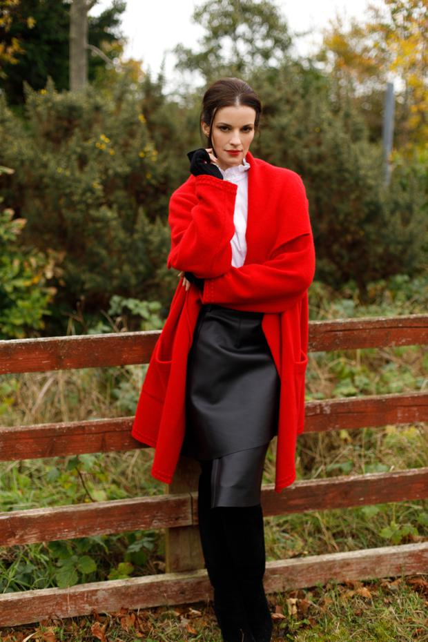 Coat, €1,495; ribbed long mitts, €145, both Madigan. Blouse, €165, Claudie Pierlot; skirt, €1,100, Acne, both Brown Thomas.Suede boots, €1,395, Jimmy Choo, see jimmychoo.com