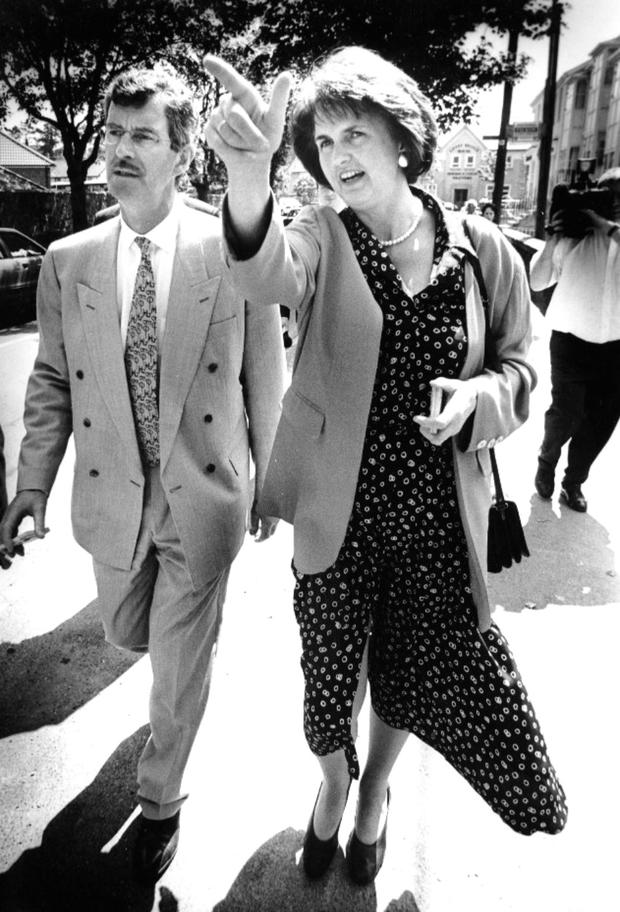 Joan Burton and Dick Spring on the campaign trail in the 1990s