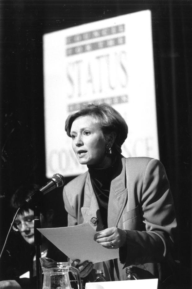 Frances Fitzgerald as chairperson of the Council of Status for Women at the annual conference in Jury's Hotel in April 1992. Photo: Tony Gavin