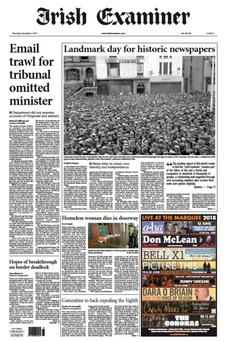 Front page of the Irish Examiner announcing the takeover