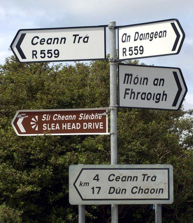 Signs in the Kerry Gaeltacht. Photo: Don MacMonagle
