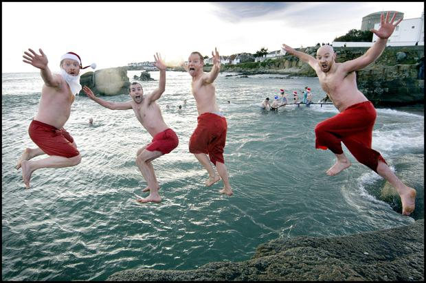 Bangers and splash: For Kirsty Blake Knox, Christmas begins by watching family take a dip at the Forty Foot in Sandycove - or at least waiting for the post-swim sausages. Photo: Steve Humphreys