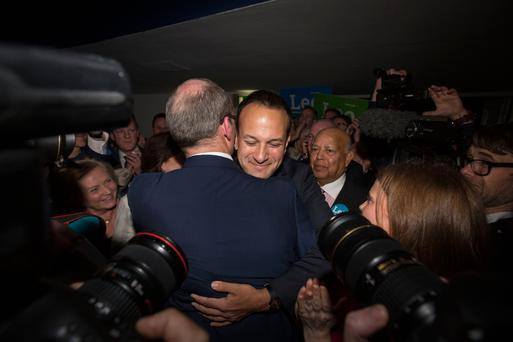Hard-fought contest: Leo Varadkar is congratulated by Coveney after winning the race to become Fine Gael leader last June. Photo: Mark Condren