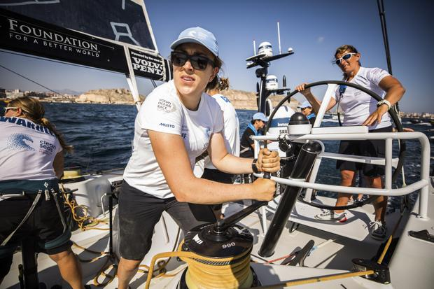 Annalise Murphy works with Skipper, Dee Caffari on leg 1 in October. Photo by Jen Edney/Volvo Ocean Race