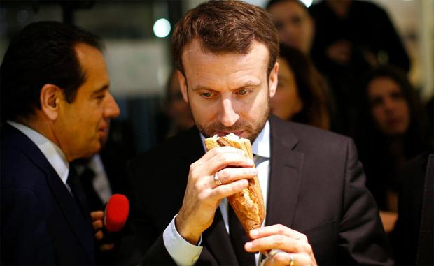 Macron with a baguette
