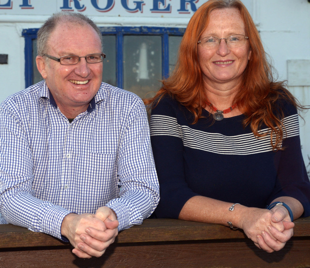 New life: Jez and Deirdre Youell pictured at her pub, the Jolly Roger, on Sherkin Island, West Cork Photo: Denis Boyle