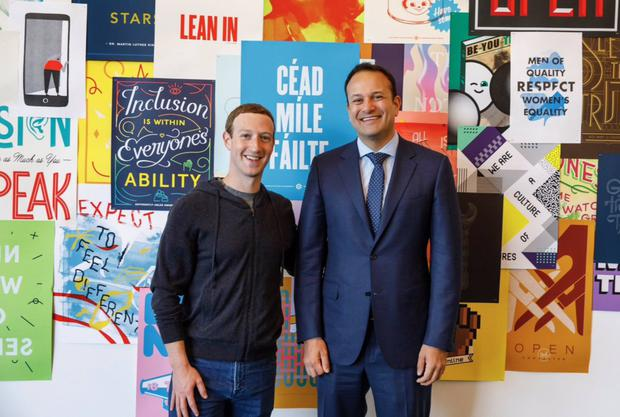 Meet and greet: Facebook's Mark Zuckerberg with Taoiseach Leo Varadkar in Silicon Valley last November