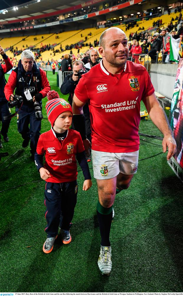 Rory Best with his son Ben after the British & Irish Lions match against the Hurricanes in New Zealand. Photo: Stephen McCarthy/Sportsfile