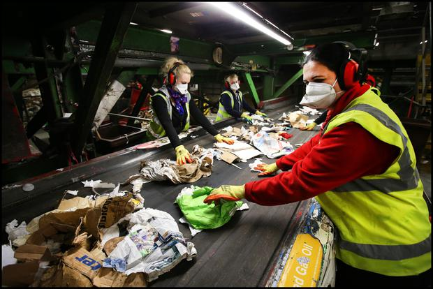 The green bin waste being sorted at the plant in Cherry Orchard. Photos: Steve Humphreys