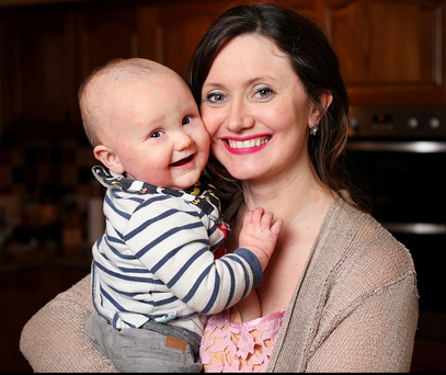 Baby on board: Maria Saunders gave birth to 11-month-old Gavin in a car at the side of the road. Photo: Steve Humphreys