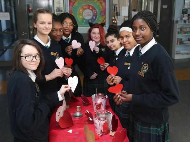 Jars of love: Students at the love pop-up station at Colaiste Bride secondary school, Clondalkin. Photo: Damien Eagers