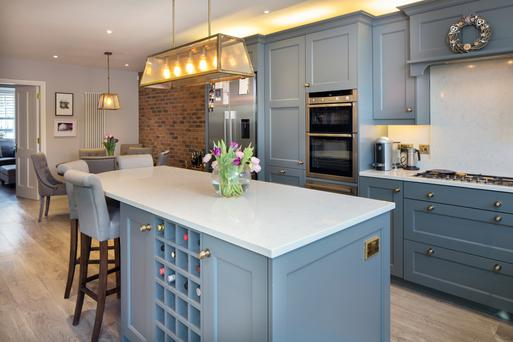 The lovely kitchen in Mary Toner's skillfully renovated home.The grey units were all made by Ferndale Kitchens, and the appliances include a gas hob.