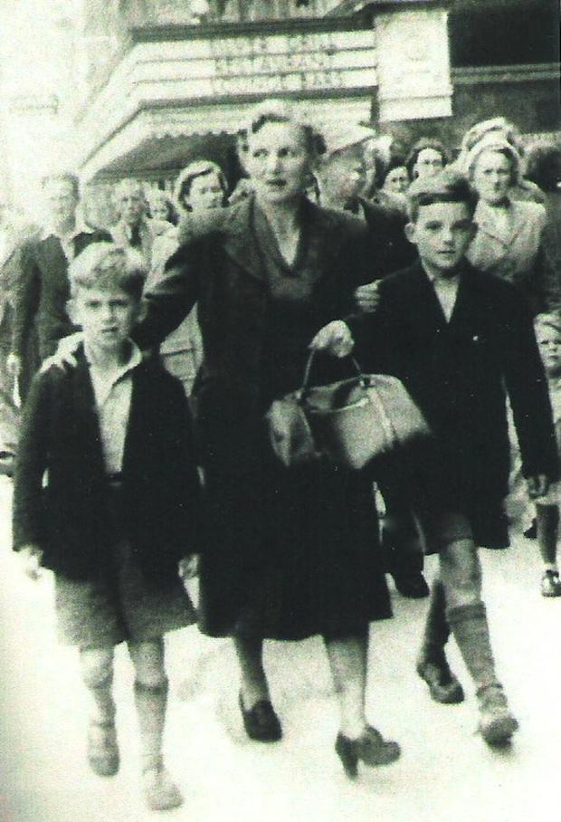 George, his mother Louse and brother Pete in O'Connell Street, Dublin in the 1950s.