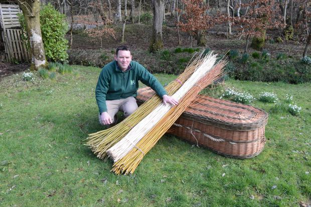 Back to nature: Colin McAteer, Cnoc Glas, Fanad Head with his willow eco-coffins.